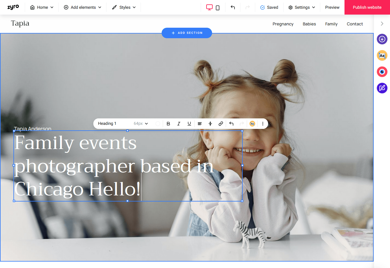 the Zyro site builder