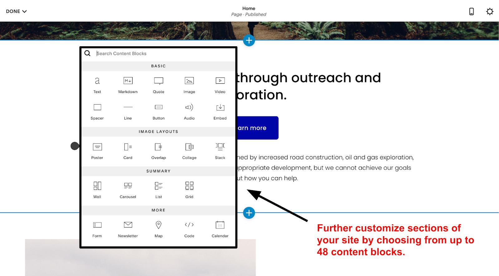 Squarespace - Content Blocks