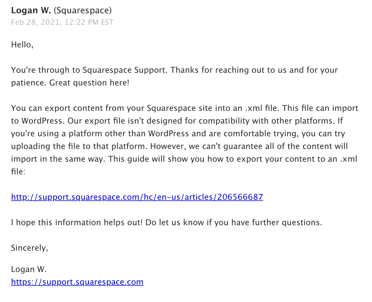 Squarespace - Email Support