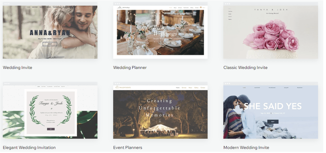 Wix Wedding Template Gallery