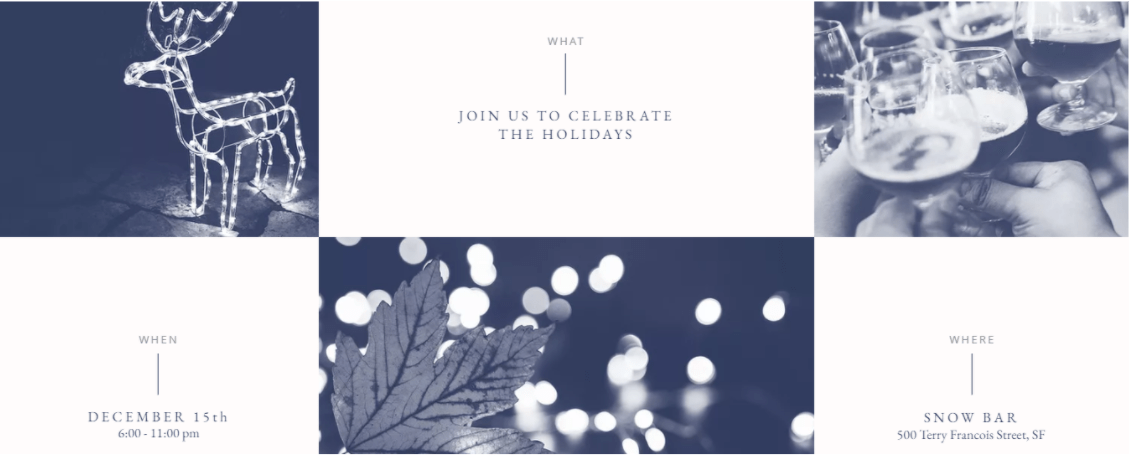 Event Section of the Wix Holiday Party Template