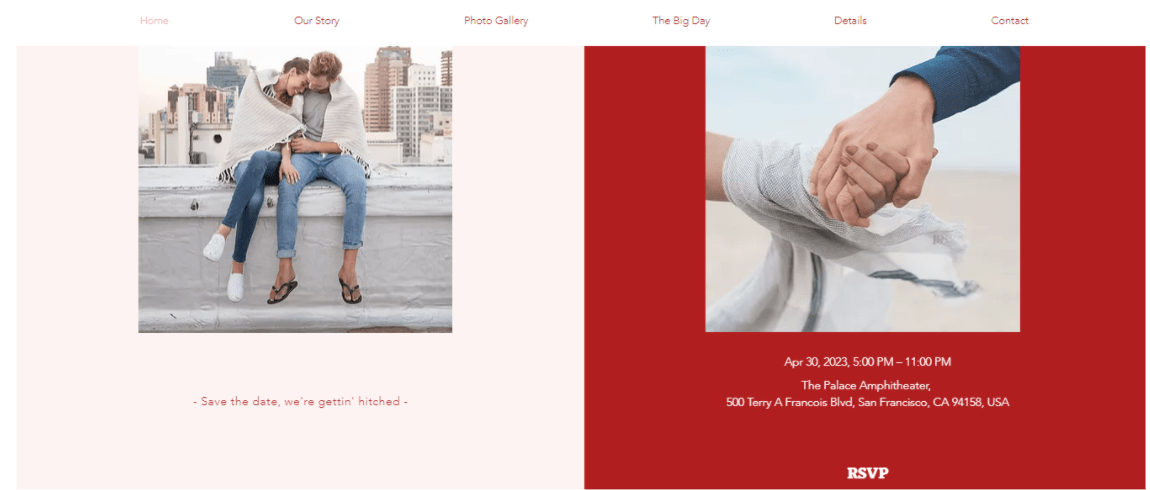 Wix Upcoming Wedding Template