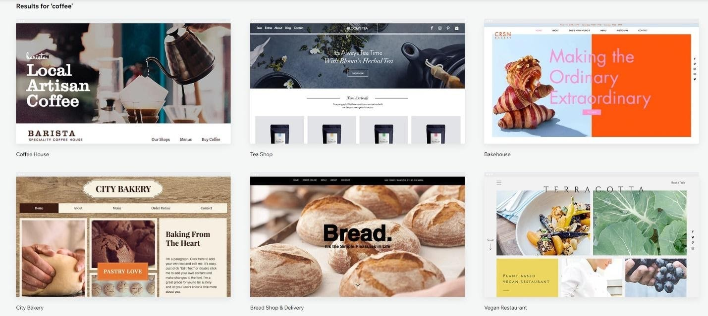 Wix restaurant and bakery templates