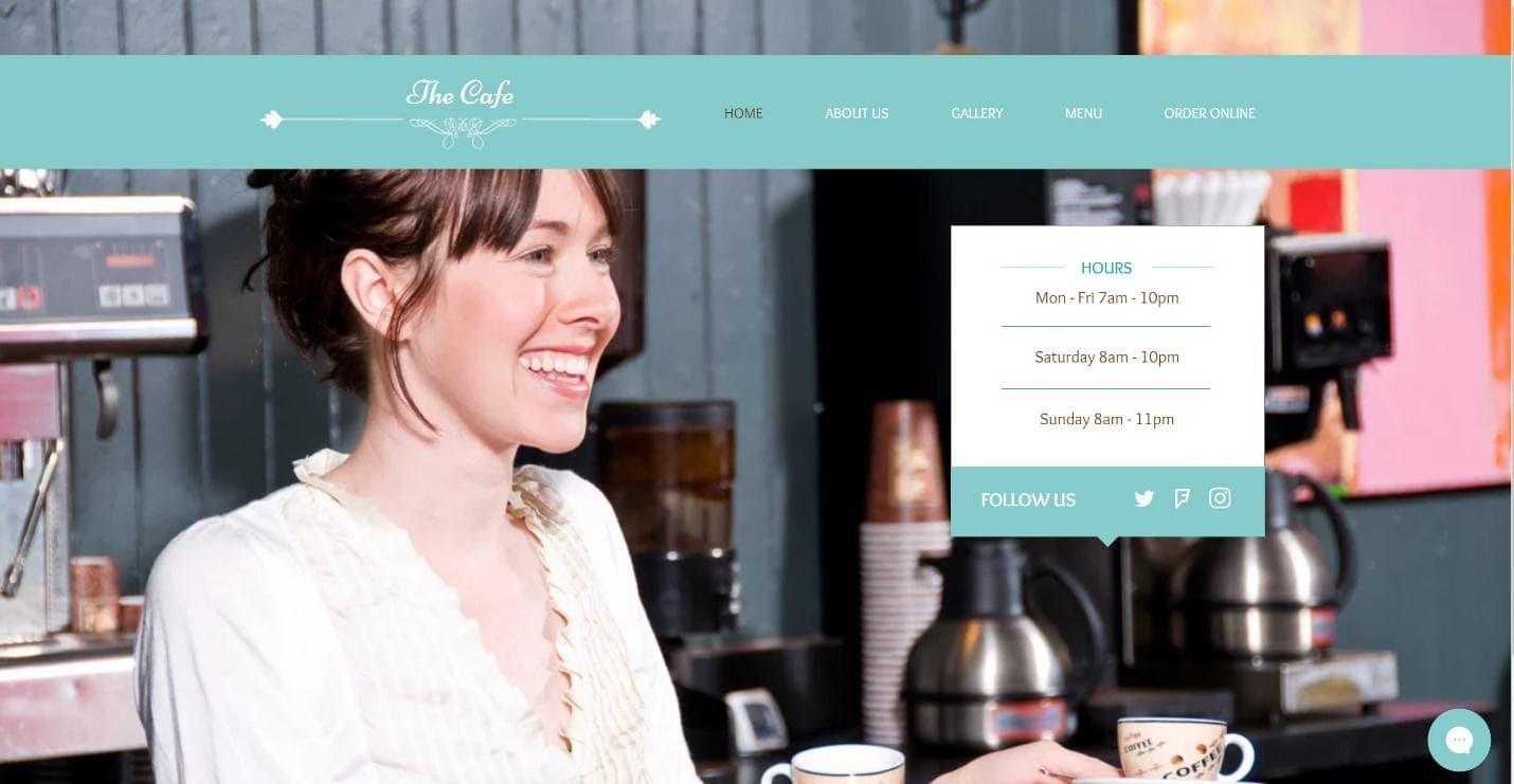 The Wix My Café website template