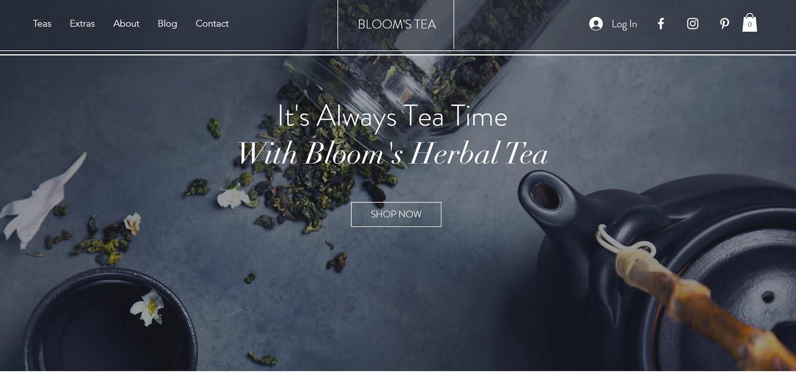 Wix Tea Shop website template
