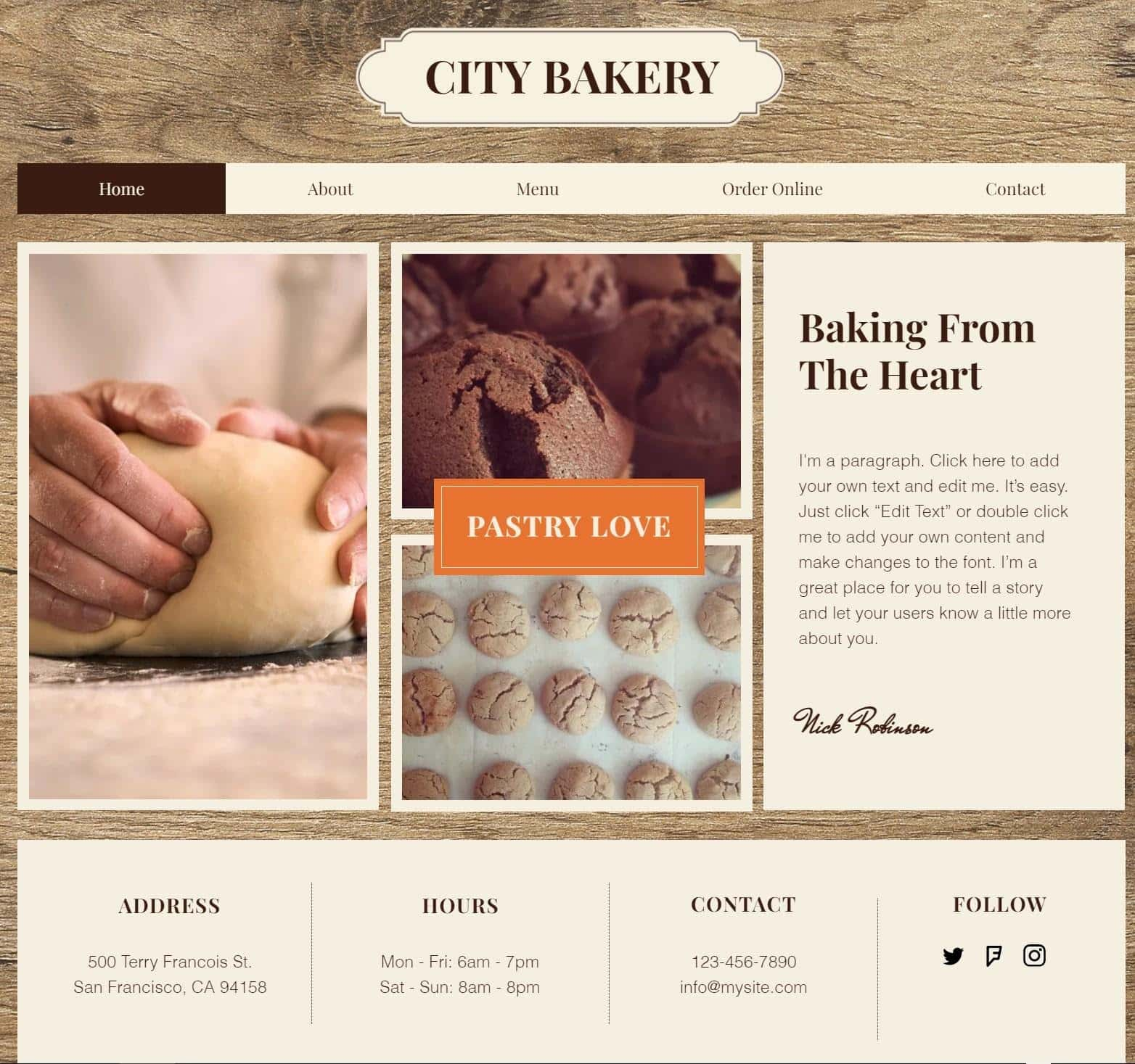 Wix City Bakery website template