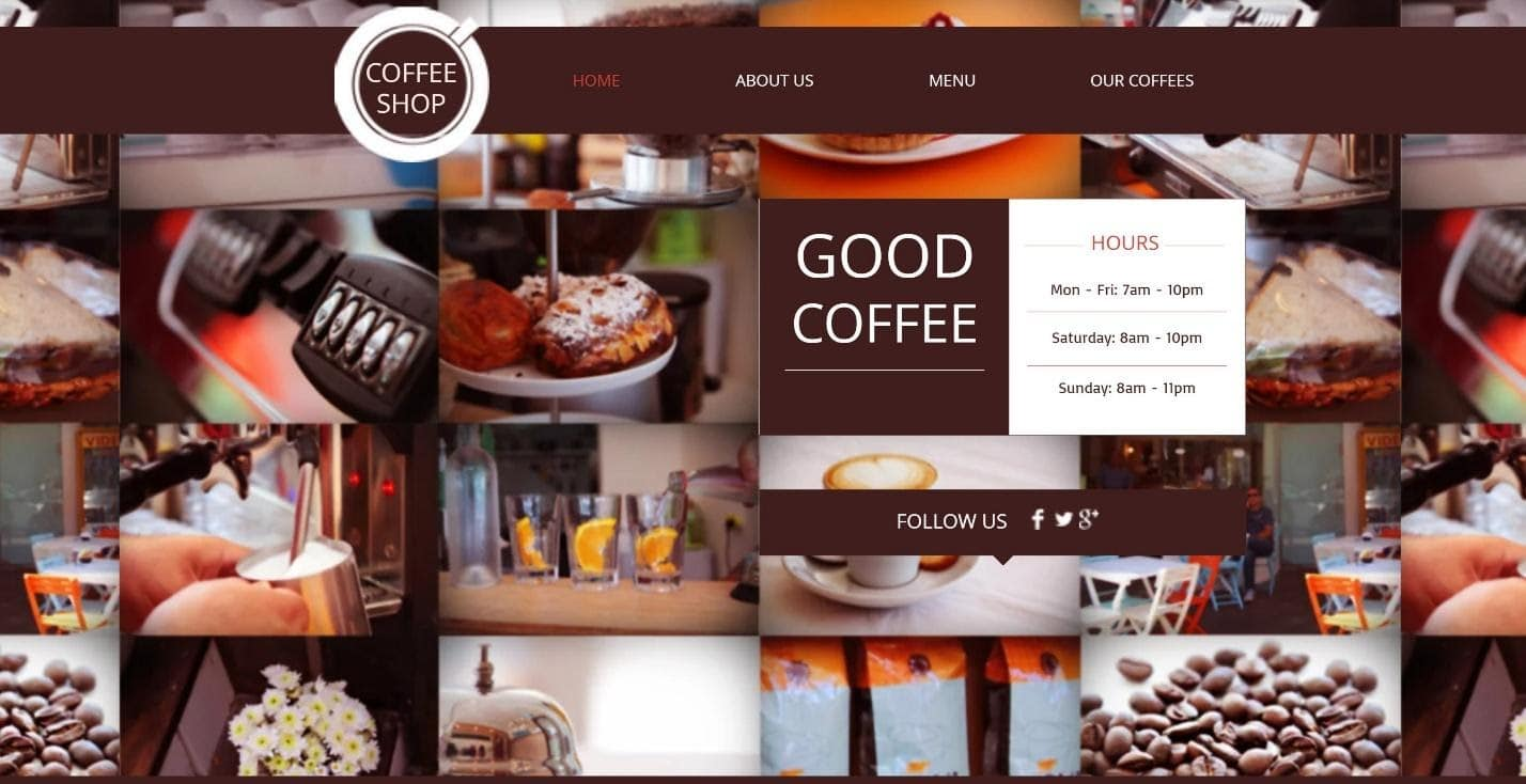 Wix Coffee Shop website template