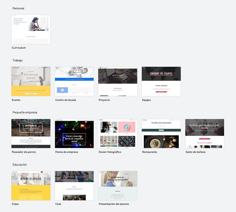 Google Sites Template Options - ES