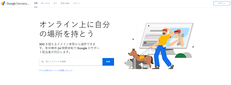 the Google Domains home page