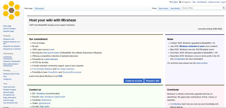 Halaman Utama Meta Wiki, wiki dari dan tentang proyek Miraheze