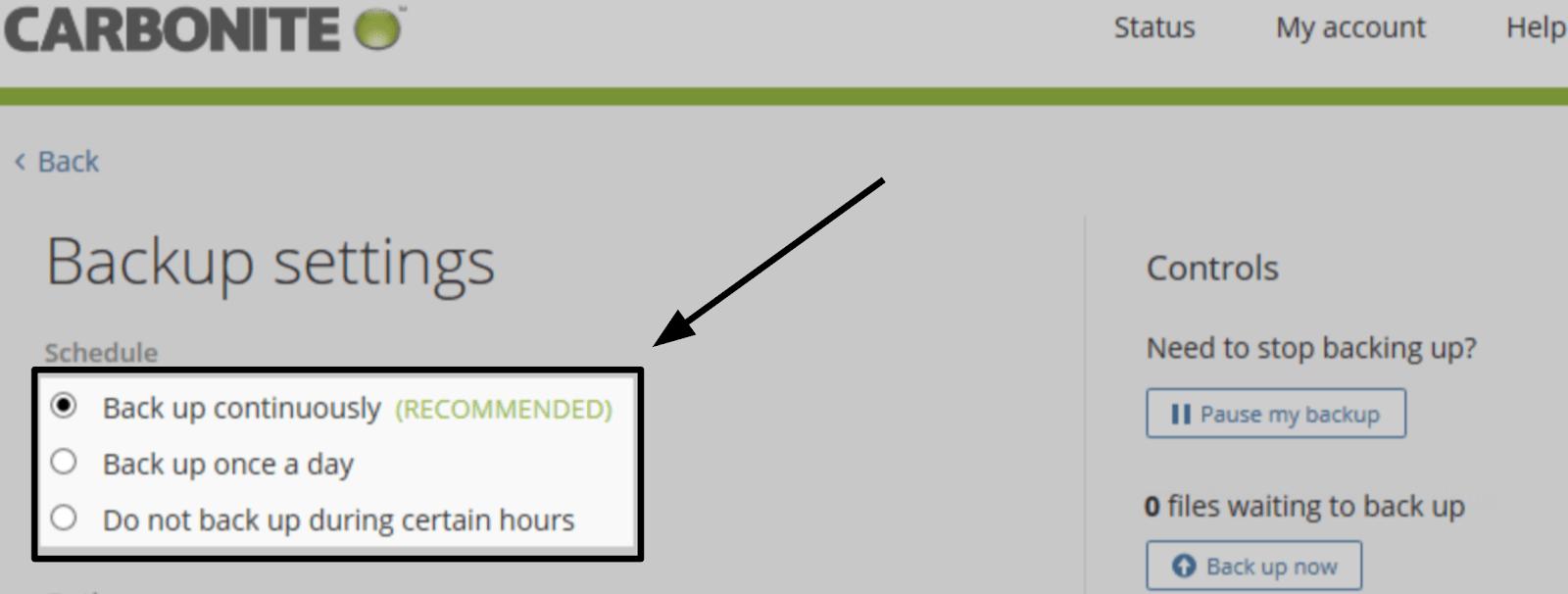 Carbonite Backup Schedule settings