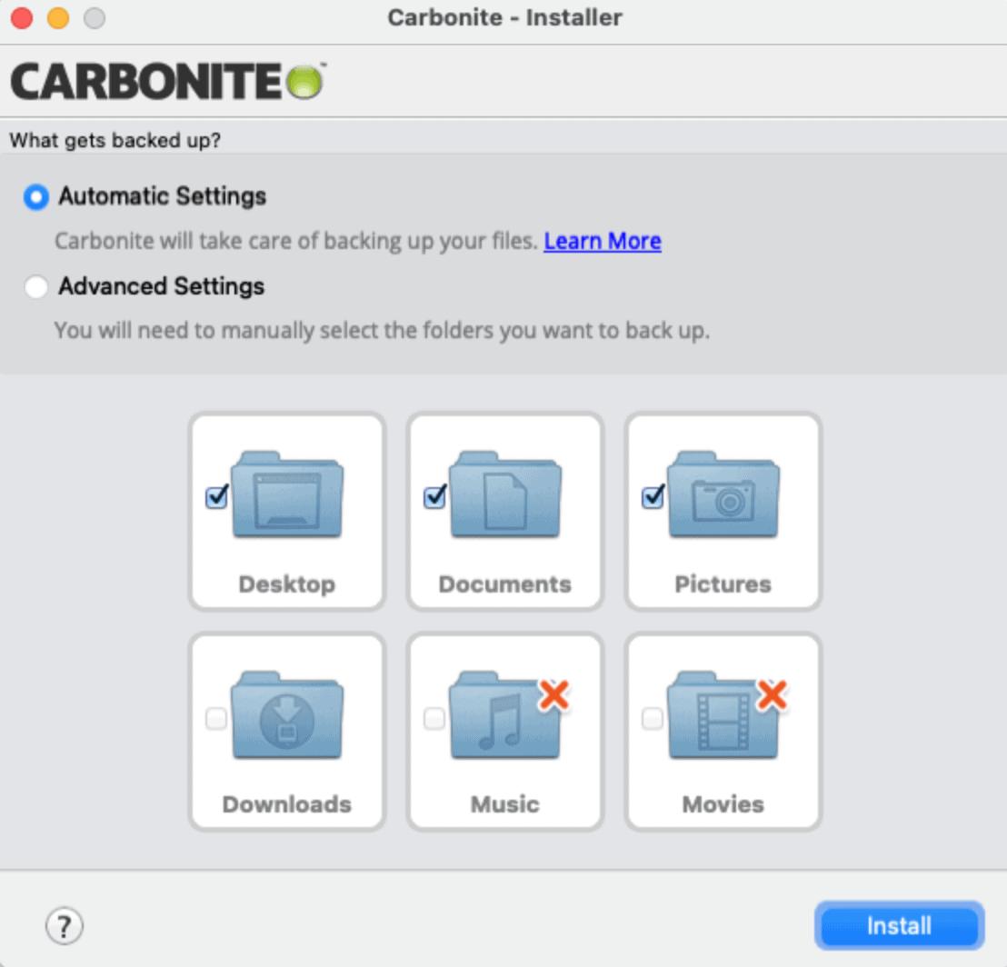 Carbonite Installer backup settings