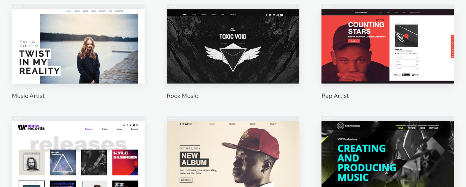 Wix music website templates