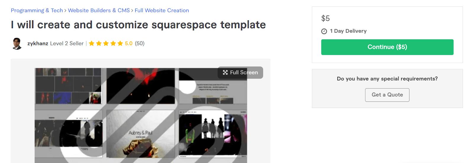 custom squarespace theme fiverr
