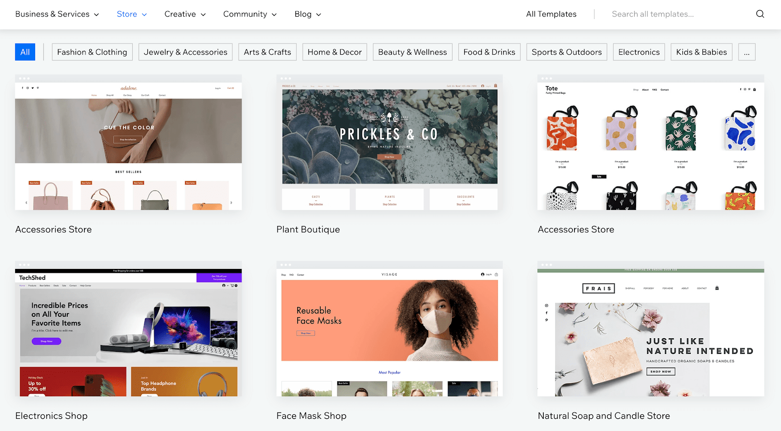 Wix - Online Store Templates