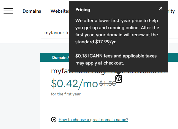 Purchasing domain name GoDaddy