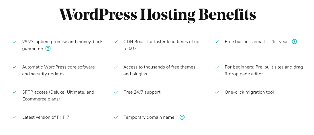 GoDaddy's WordPress hosting benefits