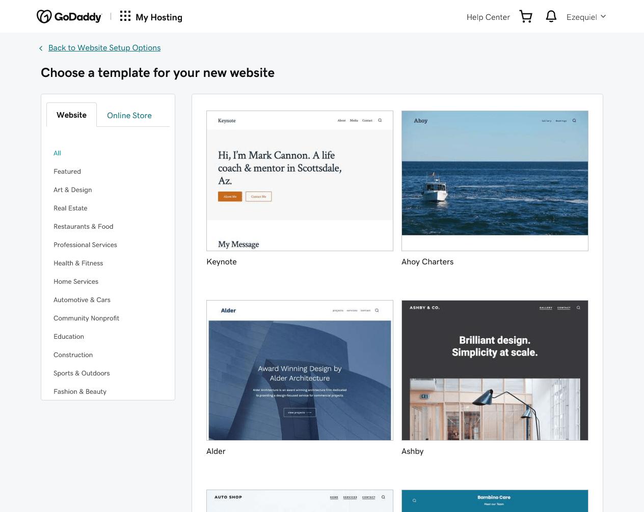 GoDaddy's built-in WordPress themes