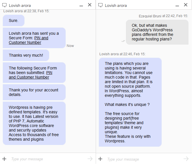my first chat with GoDaddy
