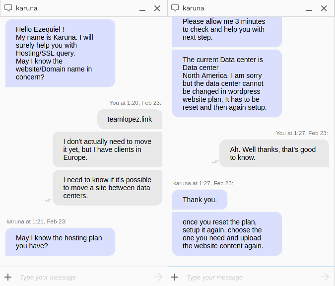 My second chat with GoDaddy