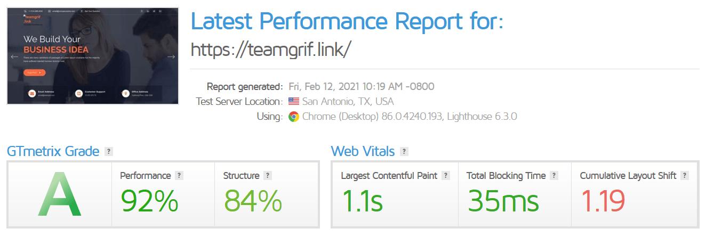 Nexcess GTmetrix results
