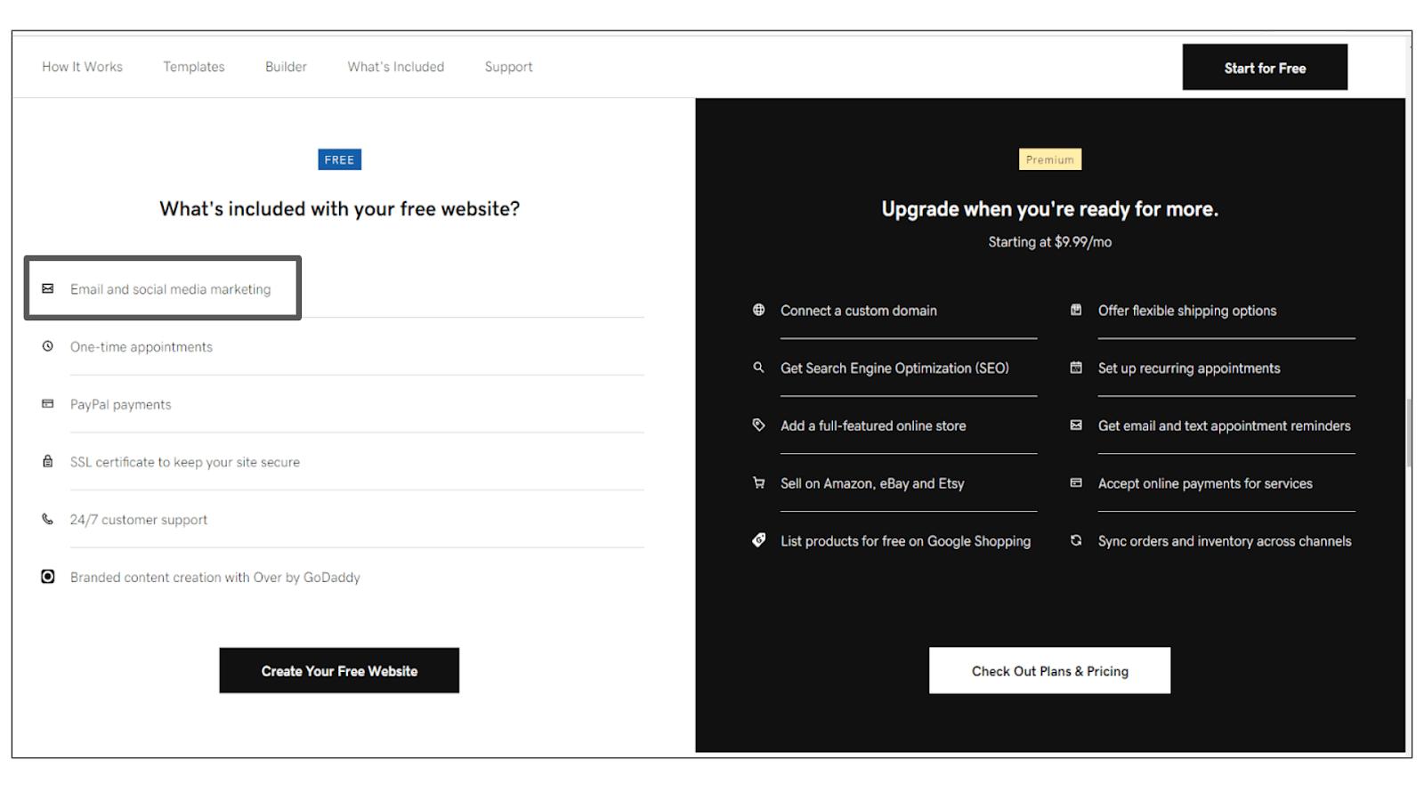 GoDaddy Websites + Marketing features