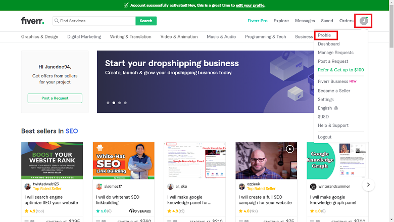 Fiverr screenshot - seller main page