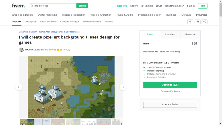 Fiverr screenshot - mt_dev game designer gig