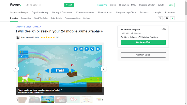Fiverr screenshot - ham_za game designer gig