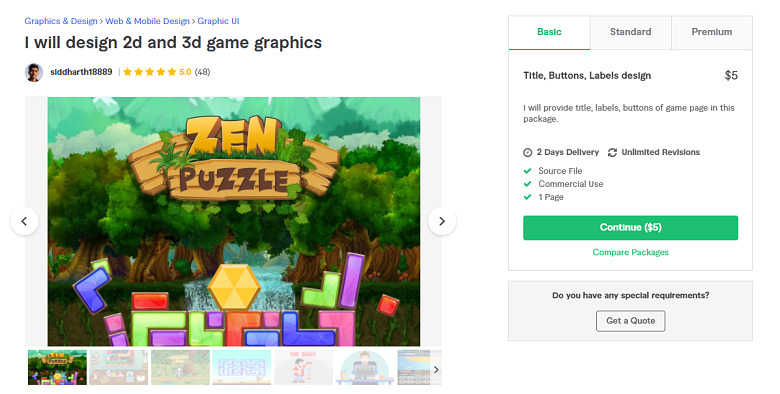Fiverr screenshot - siddharth18889 game designer gig