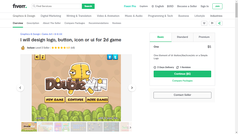 Fiverr screenshot - lexlyan game designer gig