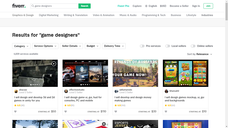 Fiverr screenshot - game designers