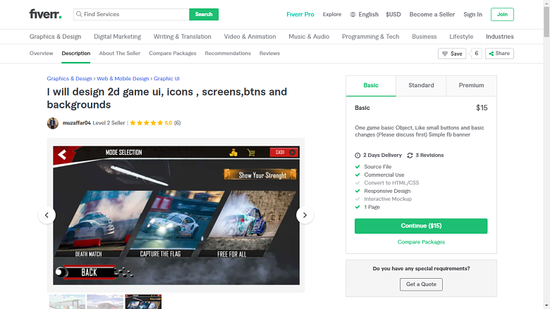 Fiverr screenshot - muzaffar04 game designer gig