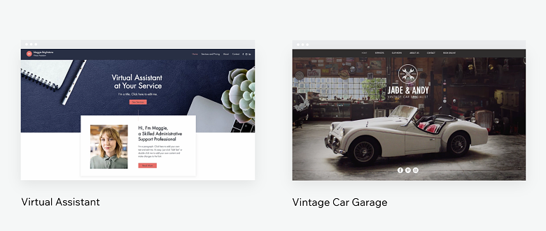 Virtual Assistant and Vintage Car Garage Wix templates