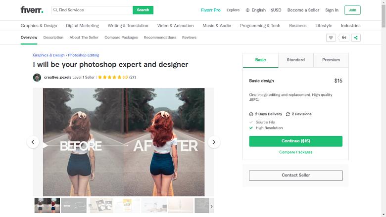 Fiverr screenshot - creative_pexels photoshop designer gig