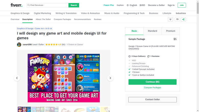 Fiverr screenshot - sanart285 game designer gig