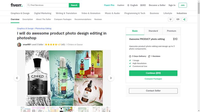 Fiverr screenshot - vsar007 photoshop designer gig
