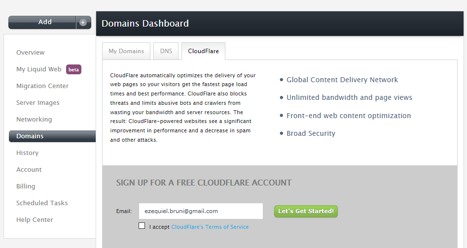 Liquid Web Cloudflare integration
