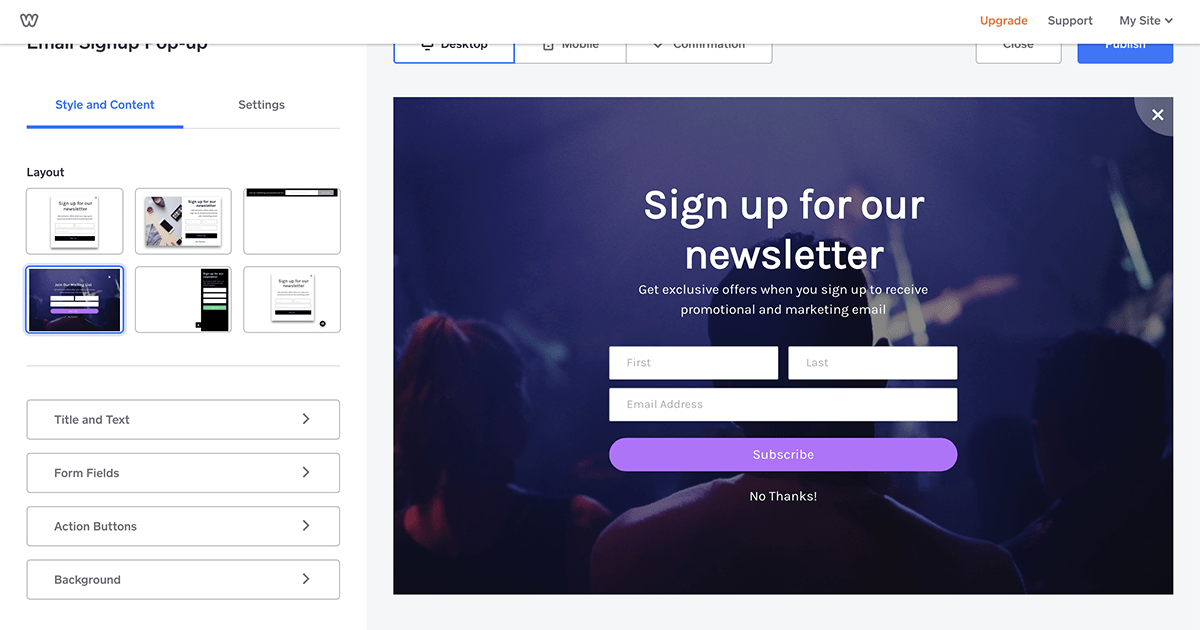 Weebly Promote subscription forms