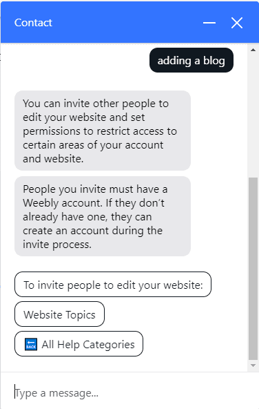 Weebly Chatbot