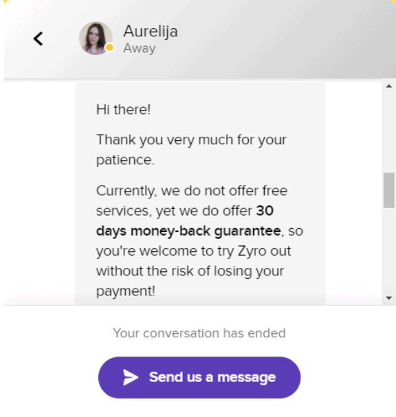 Zyro Live Chat Support