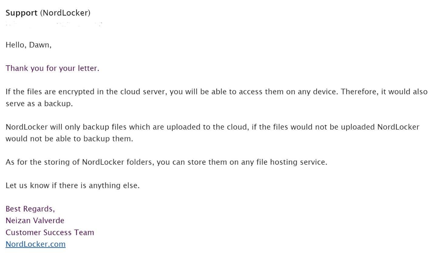 NordLocker email support was helpful