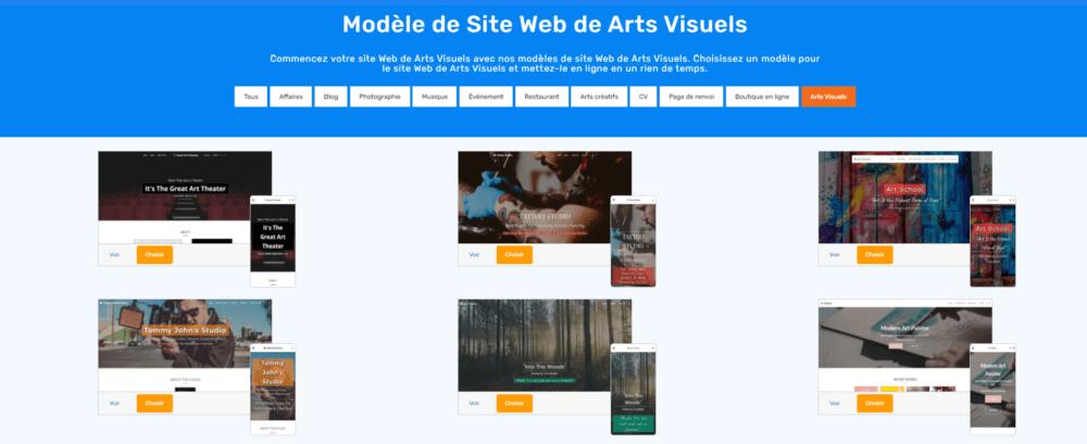 SITE123 creative arts templates