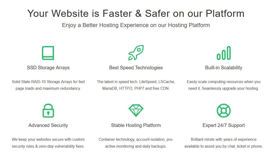 GreenGeeks - shared hosting features