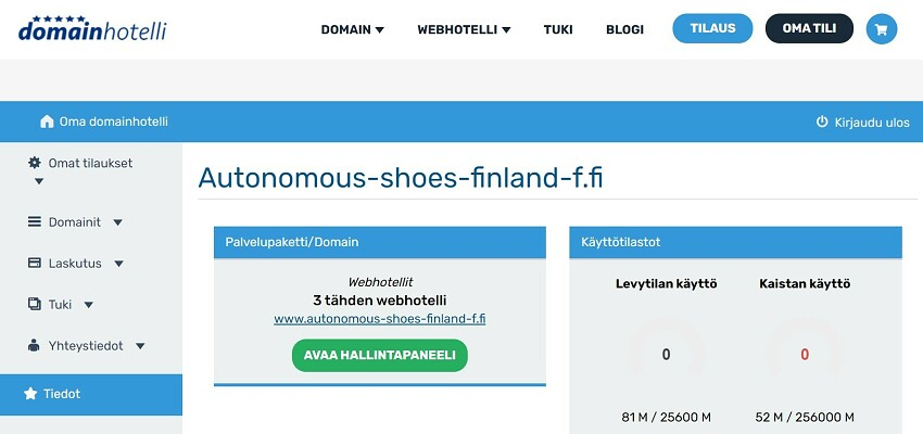 Domainhotelli user interface optimage2
