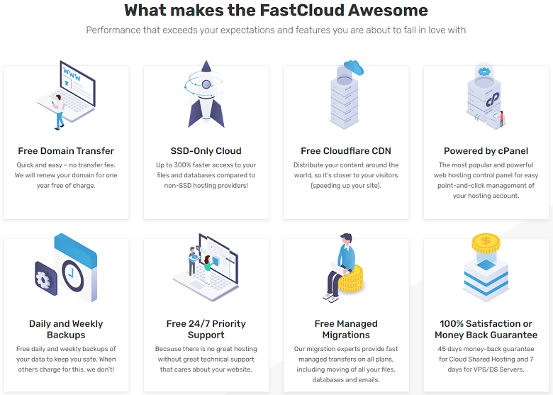 FastComet - shared hosting features