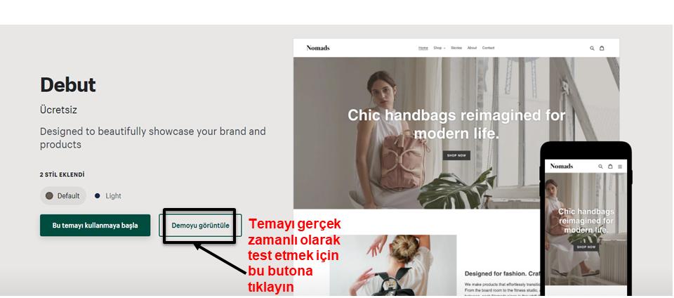 Shopify view demo button