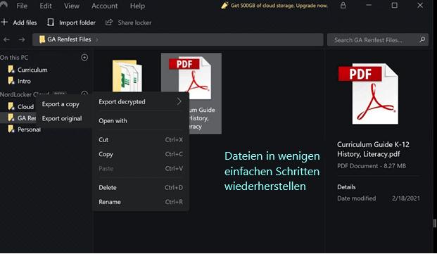 NordLocker restore options