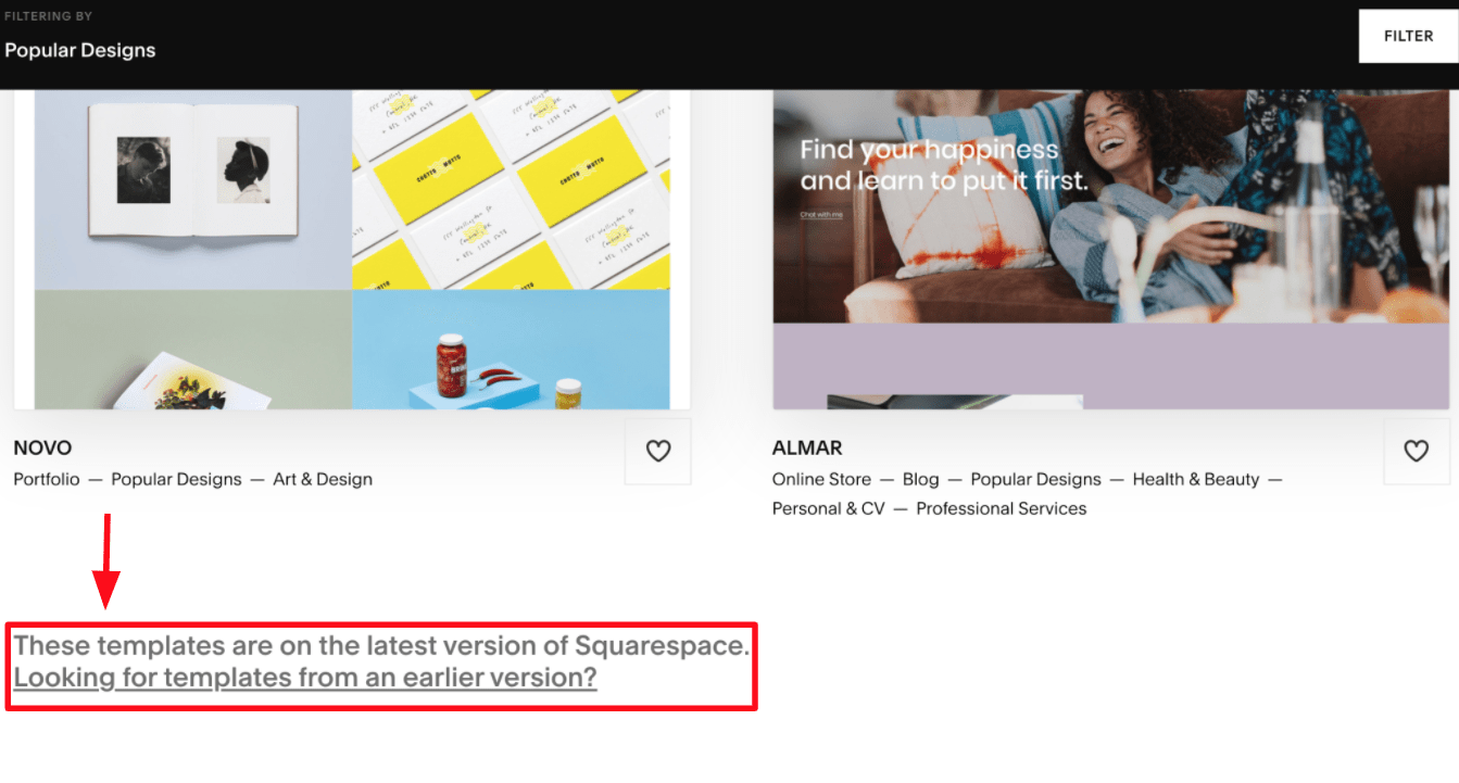 Bottom of Bottom of Squarespace templates page page