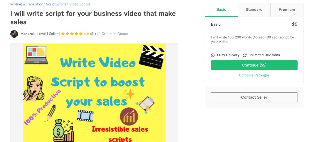Fiverr screenshot - Package overview of a business script writer gig